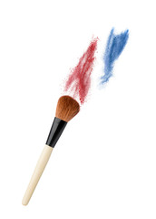 powderbrush on white background with colofull dust