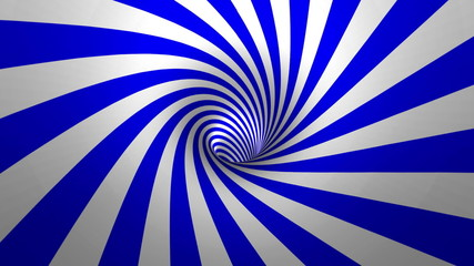 Hypnotic spiral – swirl, blue and white background in 3D