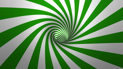 Hypnotic spiral – swirl, green and white background in 3D