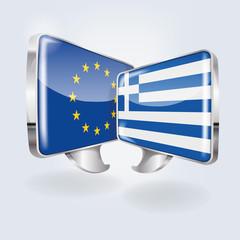 Sprechblasen in europäisch und griechisch
