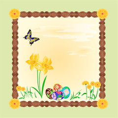 Daffodil and easter eggs frame vector