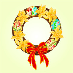 Easter wreath with easter eggs and daffodil vector