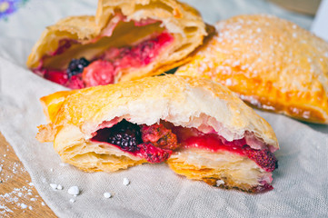 Puff with berry filling.
