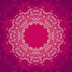 Abstract vector ornamental round mandala frame on the pink backg