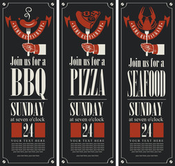 banners on the theme of barbecue, pizza and seafood