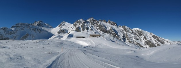 Summit station in the Pizol ski area, mountains and ski slope