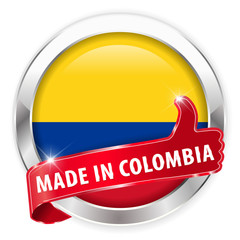 made in colombia silver badge on white background