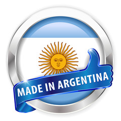 made in argentina silver badge on white background
