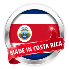 made in costa rica silver badge on white background