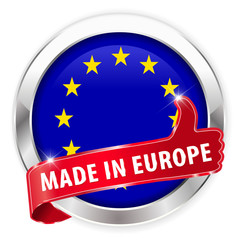 made in europe silver badge on white background
