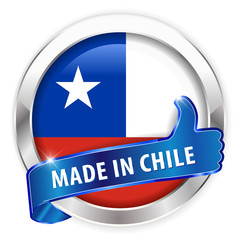 made in chile silver badge on white background