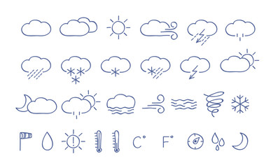 Weather icons. Simple hand drawn illustration.