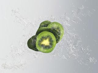Fresh exotic kiwi fruit with a splash effect