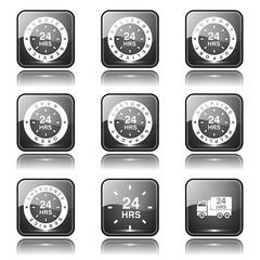 24 Hours Services Square Vector Black Button Icon Design Set