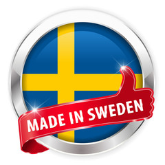 made in sweden silver badge on white background