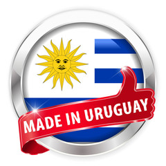 made in uruguay silver badge on white background