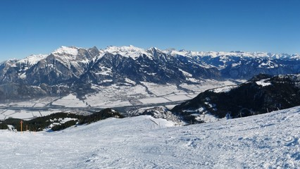 Beautiful view from the Pizol ski area, Swiss Alps