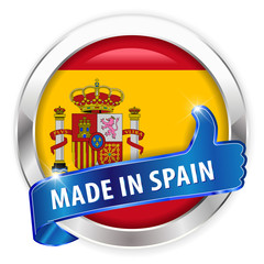 made in spain silver badge on white background