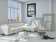 Decorated Living Room with White Elegant Furniture