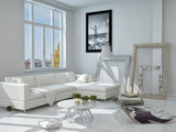 Fototapety Decorated Living Room with White Elegant Furniture