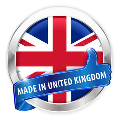 made in uk silver badge on white background