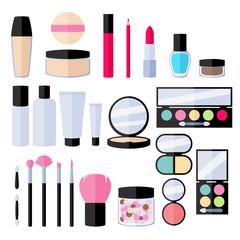 Make-up flat icons set.