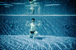 Underwater pool portraying Superman