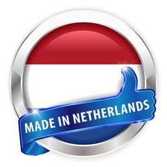 made in netherlands silver badge on white background