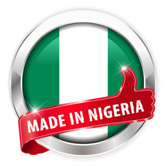 made in nigeria silver badge isolated button on white background