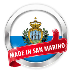 made in san marino silver badge on white background