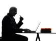 senior business man computing thumb up silhouette