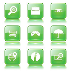 SEO Internet Sign Square Vector Green Icon Design Set 10
