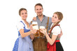 canvas print picture - Gruppe junger Leute in Tracht