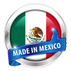 made in mexico silver badge isolated button on white background