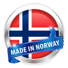 made in norway silver badge isolated button on white background