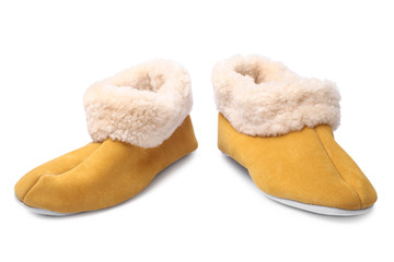Handcrafted leather slippers with wool lining
