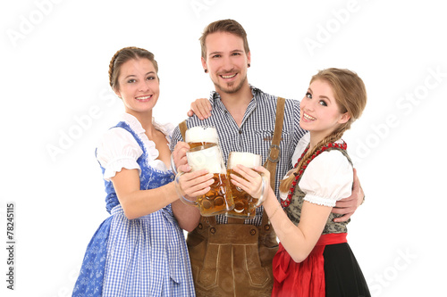 canvas print picture Gruppe junger Leute in Tracht