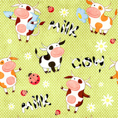 Seamless background with cute cows