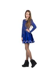 Skeptical lady in blue dress
