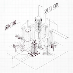 City Construction Sketch Isometric