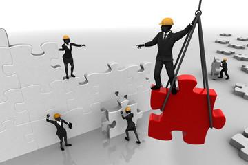 The Teamwork of assembling a jigsaw puzzle