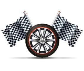 Racing Wheel With Flags