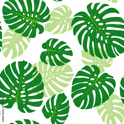 Cotton fabric Seamless pattern with tropical leaves of monstera