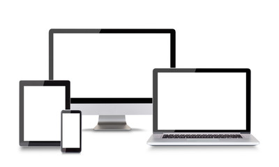 Modern electronic devices on white background