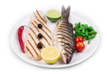 Fish and vegetables.