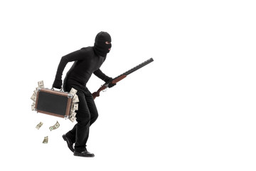 Criminal with briefcase full of stolen money