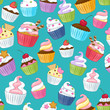 Seamless cupcakes pattern. Colorful background. - 78247713