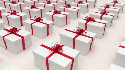 White gift boxes. (loop-ready file).