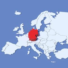 Mappa Europa 3D con indicazione Germania