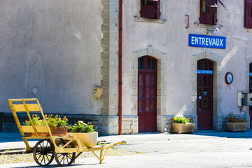 railway station in Entrevaux, Provence, France